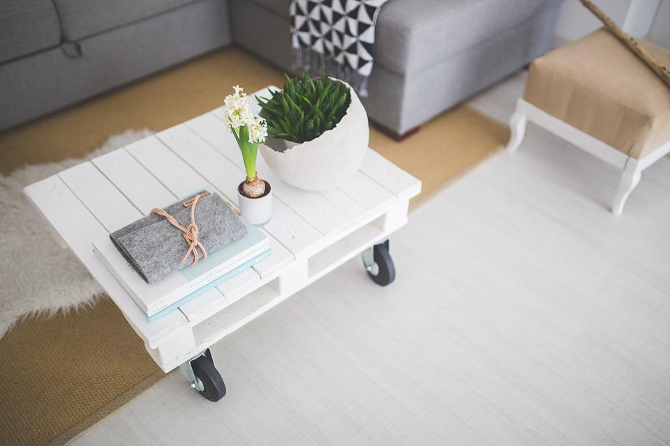 Table, Coffee Table, White, Industial, Scandinavian